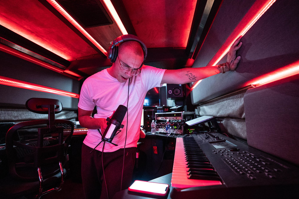 Logic recording on his studio bus, 2018