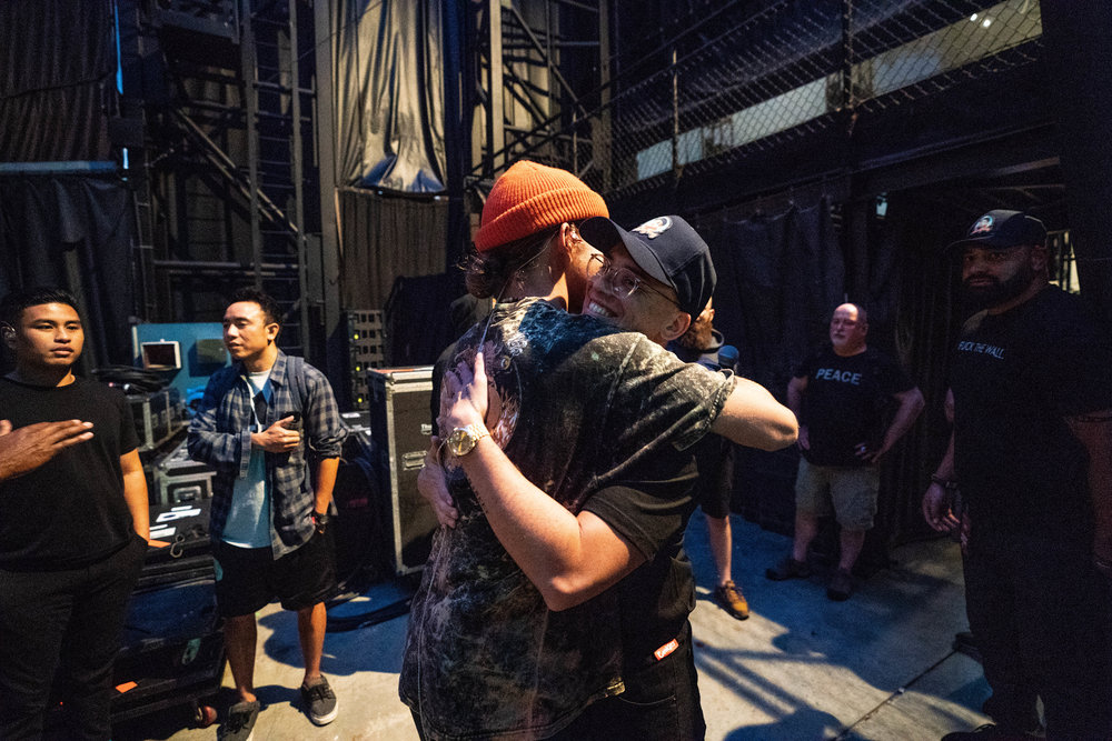 Pre show hugs with Rhetorik, 2018