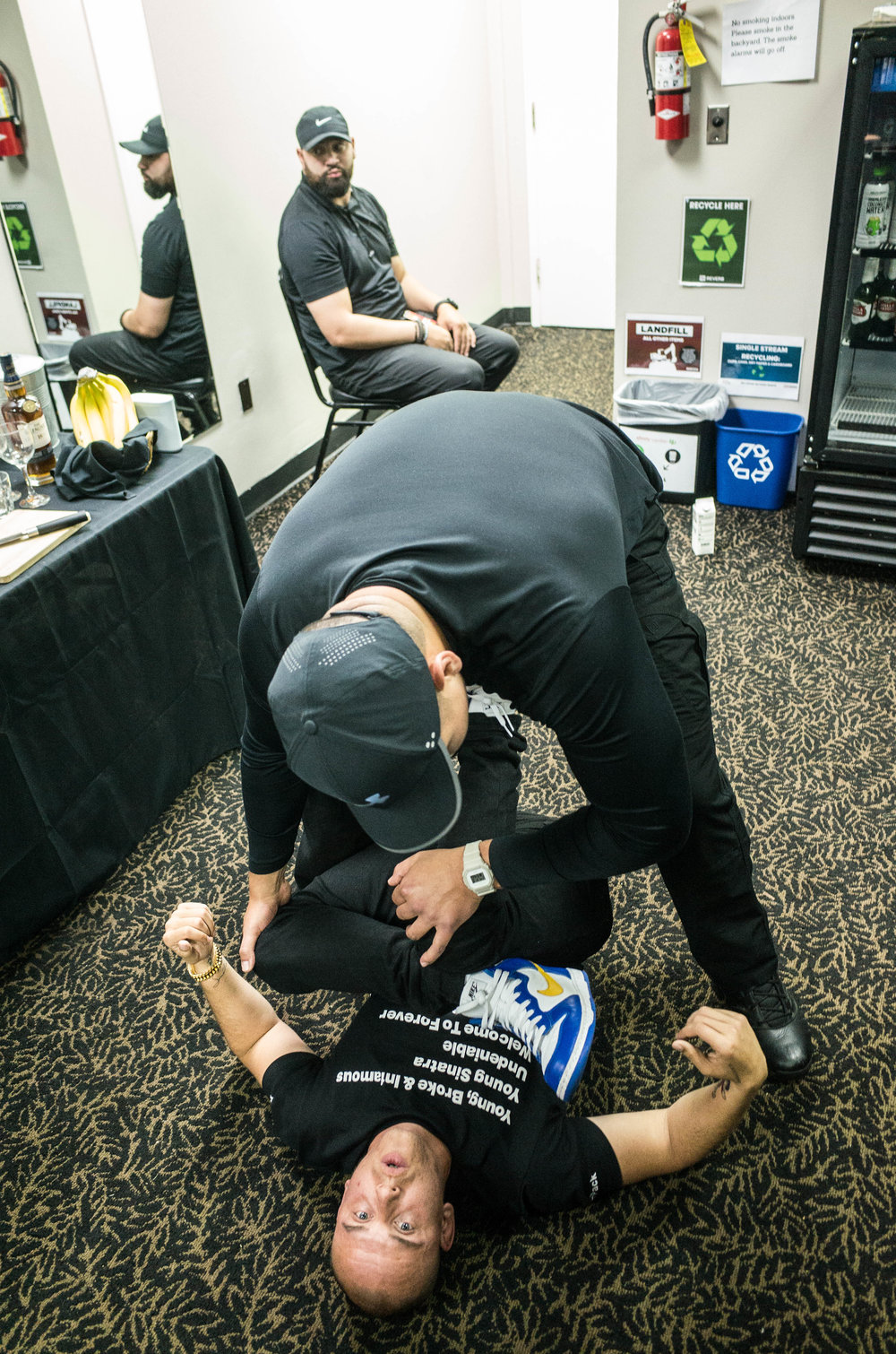 Logic stretching before the first show of tour, 2018