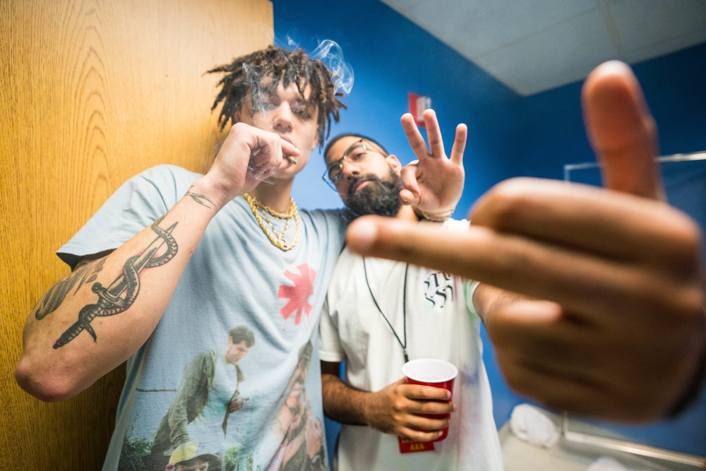 Prettyboi and 6ix backstage in Philly, 2018