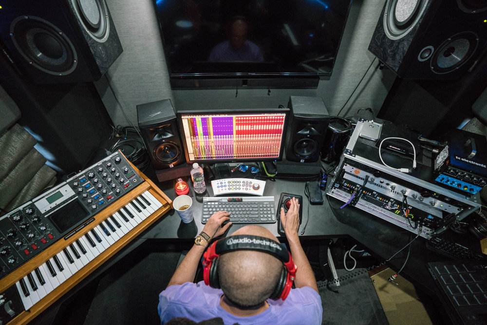 Logic working on a new record on the studio bus, 2018
