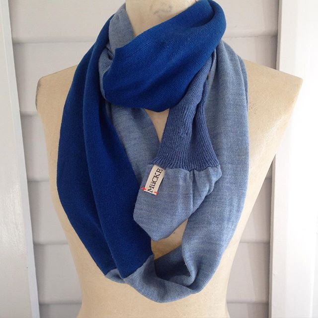 Moving house/ studio SALE on #jumperscarves 👆🏼$60 au. Comment sold below. Or visit our etsy store - link in profile. #sustainablefashion #recycled #reclaimed #remade #blue #fashion #madeinmelbourne #etsy #scarf #autumn #winter #spring