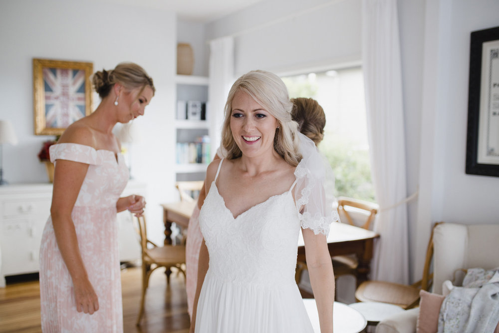Bride getting ready for Waiheke wedding