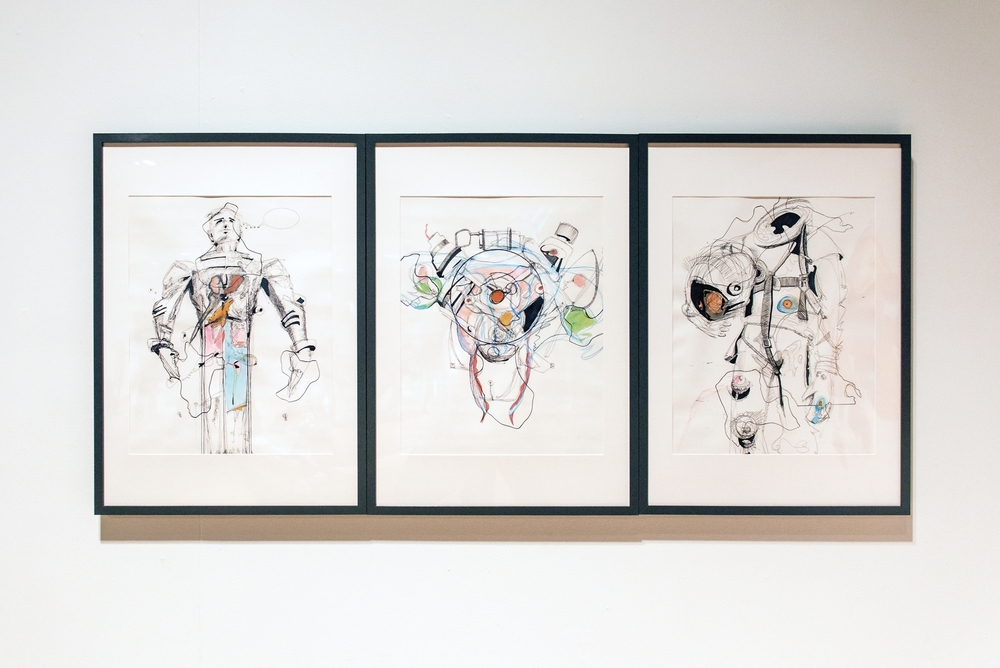 Three Drawings (The Character of Man, 15r Motor, Ride)    2015  28.5 x 64.5 in. (framed)  Paper, ballpoint pen, marker, colored pencil, glues, and frames.  photo by Marlayna Demond