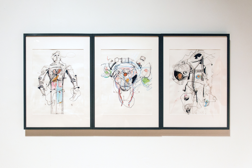 Three Drawings (The Character of Man, 15r Motor, Ride)    , 2015. Paper, ballpoint pen, marker, colored pencil, glues, and frames. 28.5  x 64.5 in.
