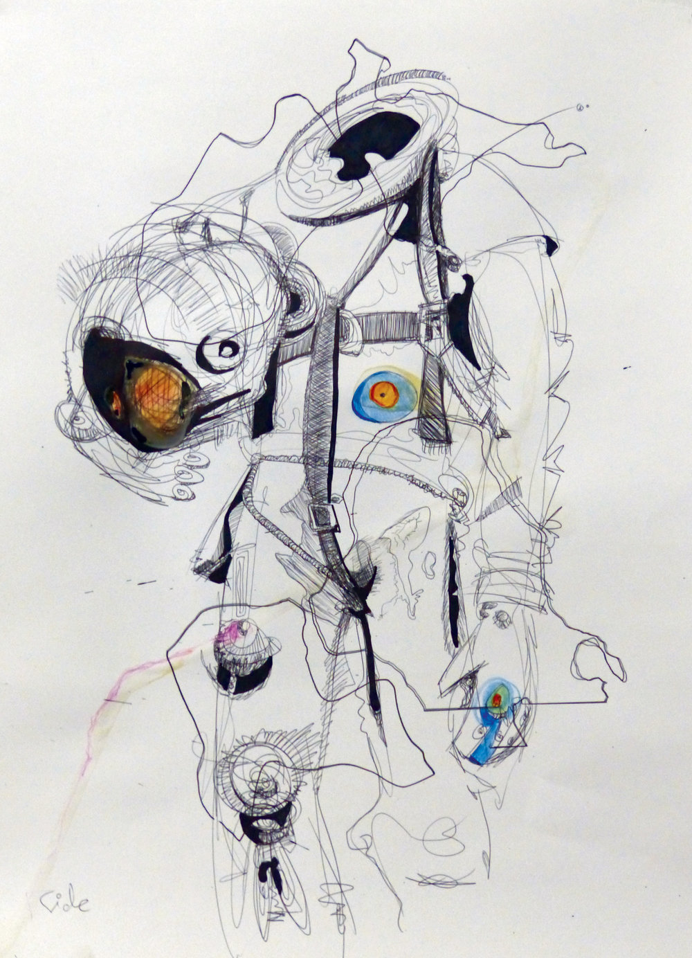 Three Drawings (The Character of Man, 15r Motor, Ride)    , (Detail) 2015. Paper, ballpoint pen, marker, colored pencil, glues, and frames. 28.5  x 64.5 in.