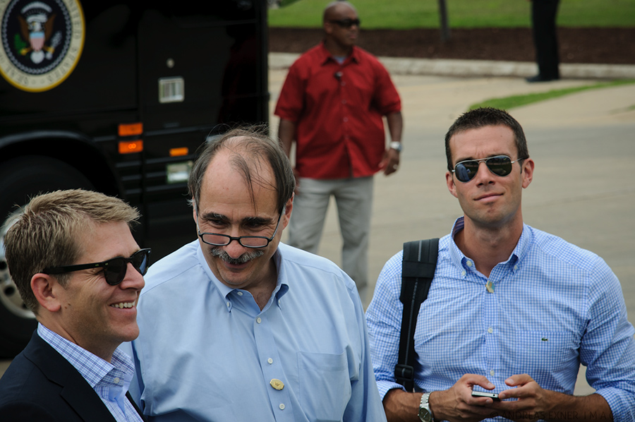 Jay Carney, David Axelrod, Dubuque, August 2012