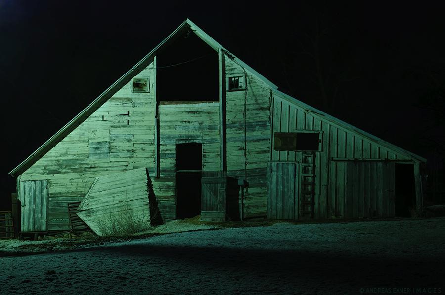 The old barn at night