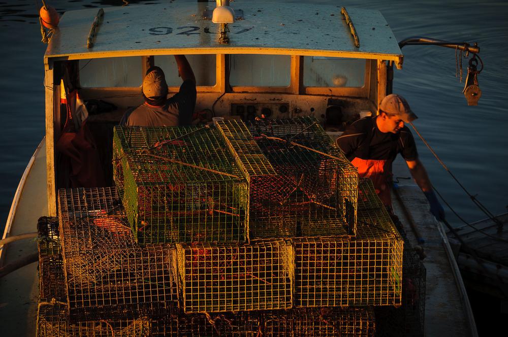Lobster boat leaving before sunrise, New Harbor