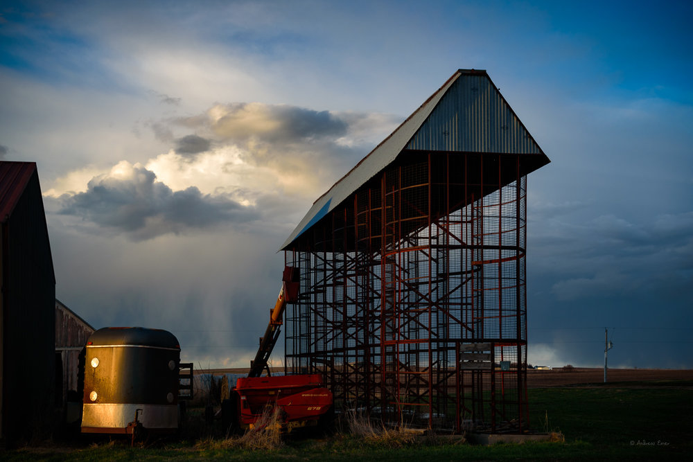 Cloud over corn crib, Northwest Iowa, March 2016