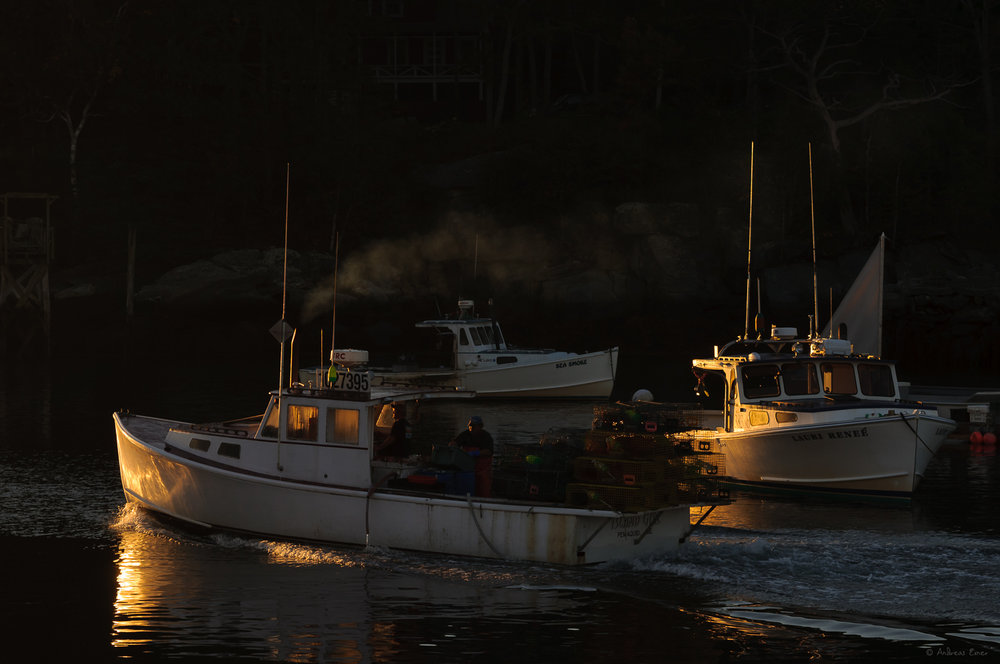 Lobster boat leaving harbor at sunrise ------