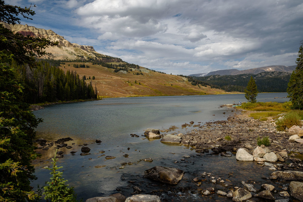 Beartooth Lake with Beartooth Butte, a fossil repository that was pushed upwards during the last 75 million years.