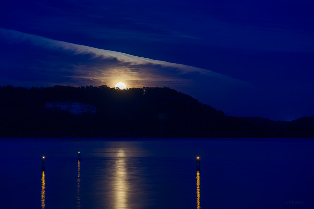 Moonrise, Mississippi River, Mud Lake, Iowa