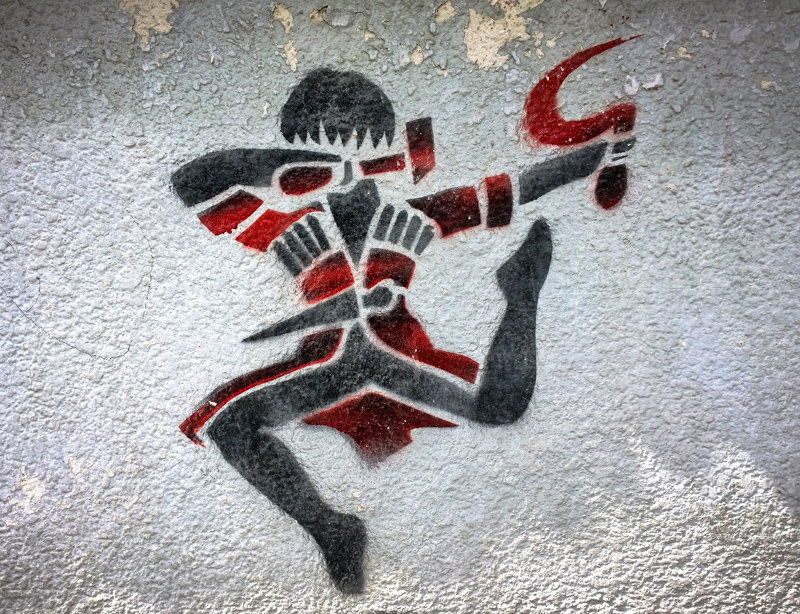 Georgian National dancer with hammer and sickle