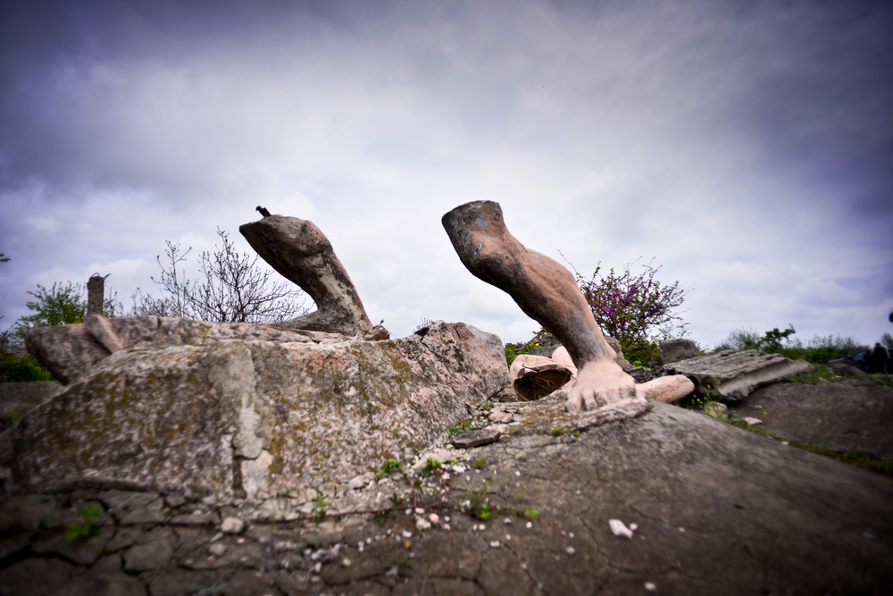 Legs are the last standing bit of a large fountain statue in the city of Agdam, the Hiroshima of Caucuses, once a thriving city of 150,000 people, now lies in ruins, Nagorno Karabakh