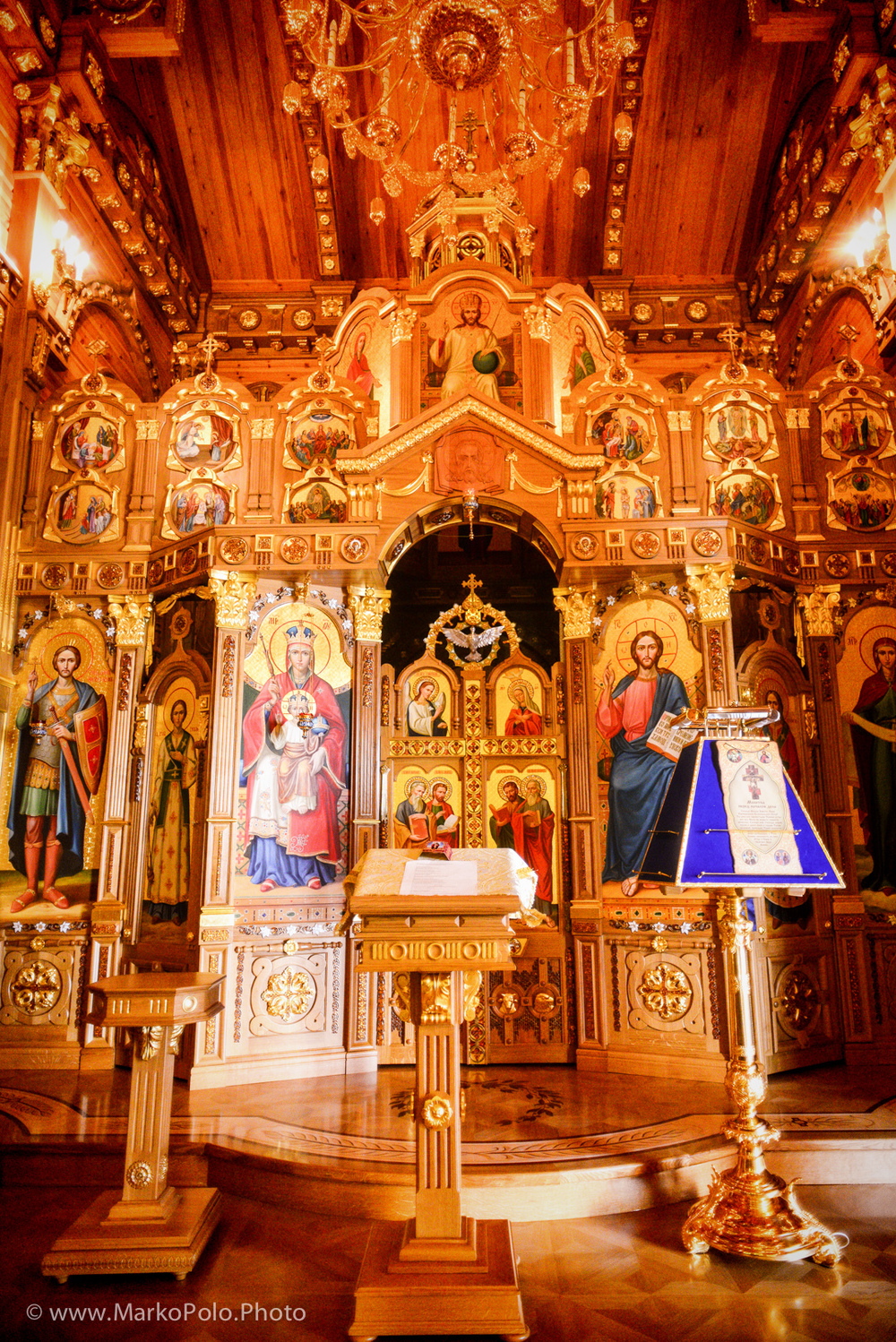 Personal church on the same floor as master bedrooms.  Yanukovych is religious and very superstitious.  He had many many ancient icons and 1000 year old books.  Most was moved during his escape.  Some 65 icons were packed but left in the garage.  These are now in a museum