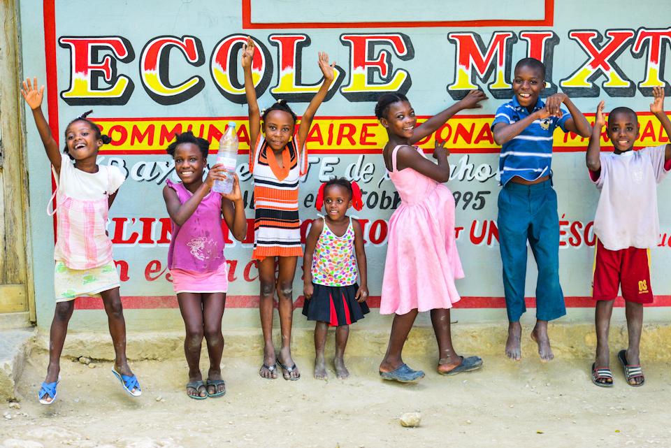 Haiti (1) - Kids pose outside a ruaral school