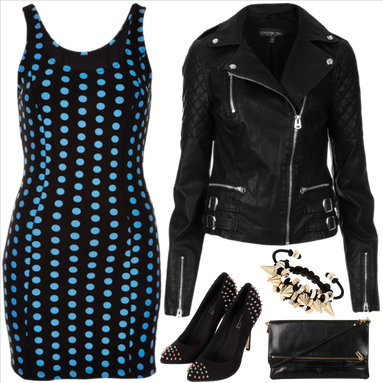 topshop, topshop dress, dress, bodycon dress, jacket, biker jacket, courts, court shoes, bracelets, clutch, petite dress