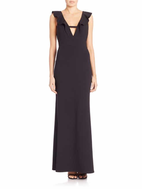 ABS Ruffled V-Neck Gown -
