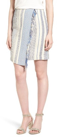 Halogen Fringe Faux Wrap Pencil Skirt -
