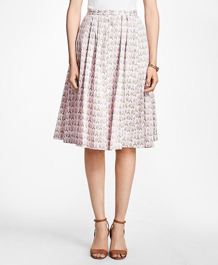 Brooks Brothers Floral Cotton-Sateen Pleated Skirt -