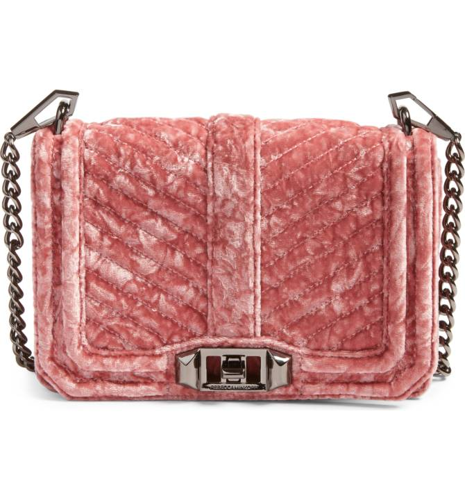 Rebecca Minkoff Small Love Velvet Crossbody Bag - I've loved this bag for a long time and this plushy pink velvet is just screaming my name. It's a super cute going out bag or it could even be an every day bag if you're extra like me. Sale: $116.90 After Sale: $175.00