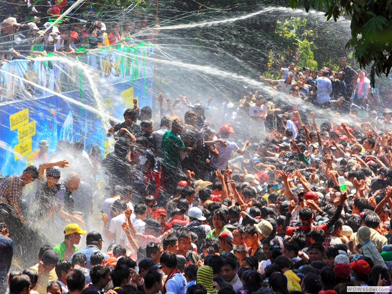Scene like the one I was in at this year's Thingyan, the Burmese water festival during the four days leading up to New Year.  (credit:http://myanmar-cefa.or.jp/myanmar_tourism_tokyo/img/myanmar/zaw_zaw_tun_108a1_40_myanmar_new_year_festival.jpg)