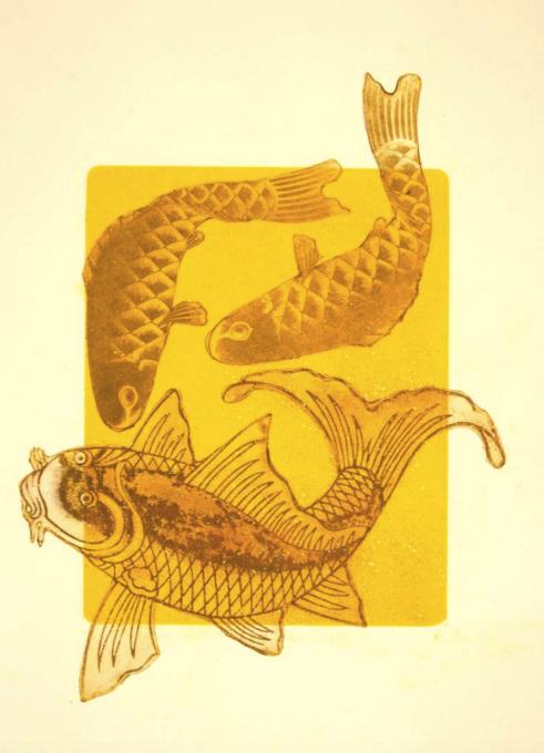 kiiroi koi a yellow koi dark on light 2015 add midcentury modern style