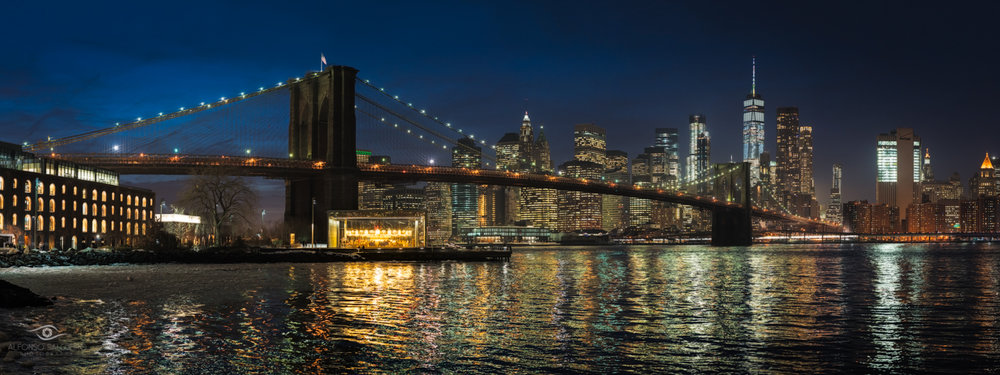 Brooklyn bridge park night panorama