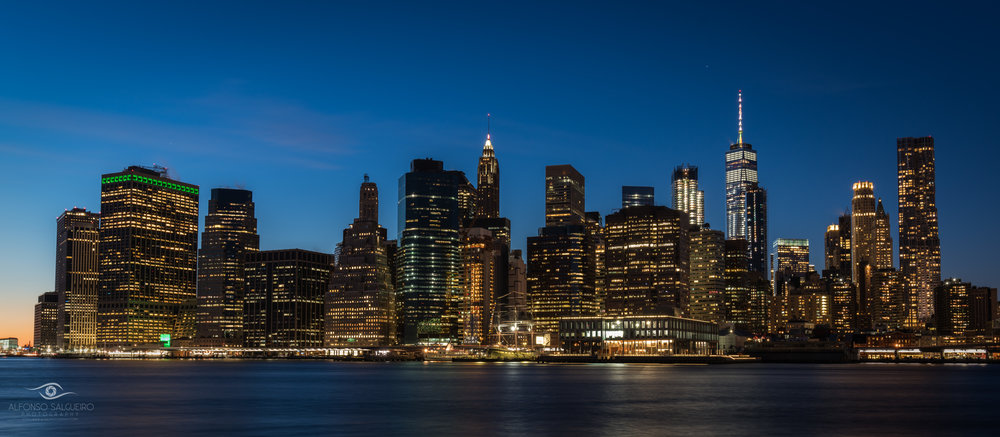 Lower Manhattan view at night