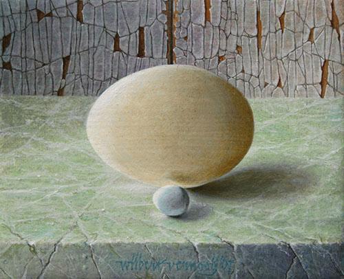 Ei van kip en eitje van zebravinkje | Egg of chicken and little egg of zebra finch