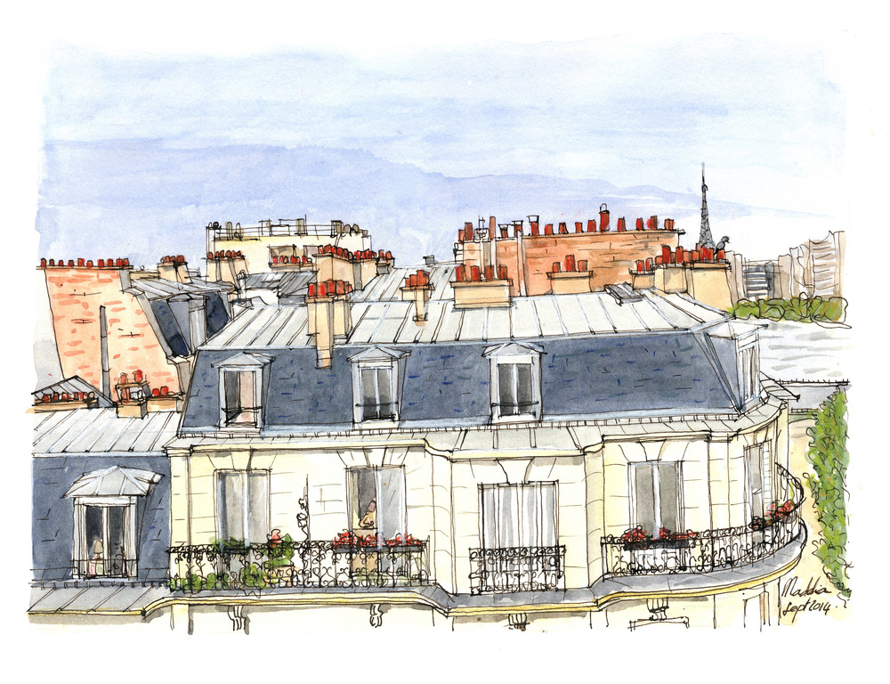 Quai Louis Blériot. Encre et aquarelle, format 20x 35 cm Copyright ADAGP
