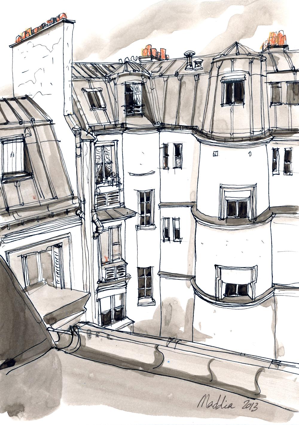 Rue de Moscou, Paris 17eme Format 20x30 cm, réalisé à l'encre. Copyright ADAGP