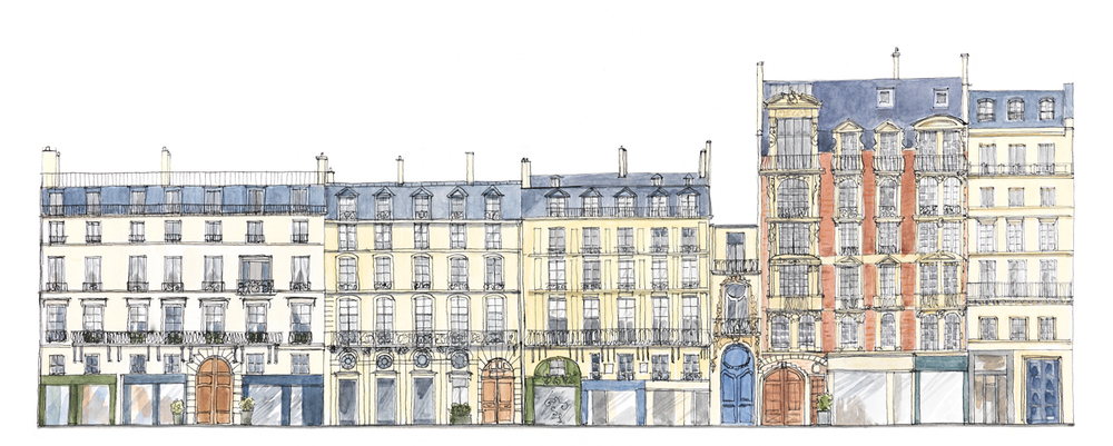 Quai Voltaire ,Paris. Encre et aquarelle Format 50cx25cm. (Copyright ADAGP)