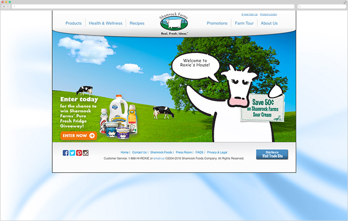 Before: Shamrock Farms' website was dated, difficult to navigate, and had many functional issues.