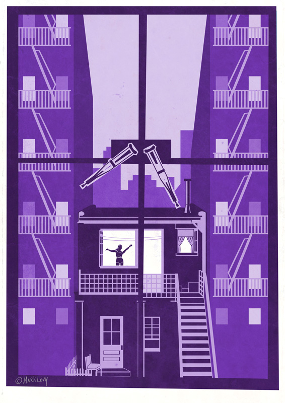 Rear Window Movie Poster Purple