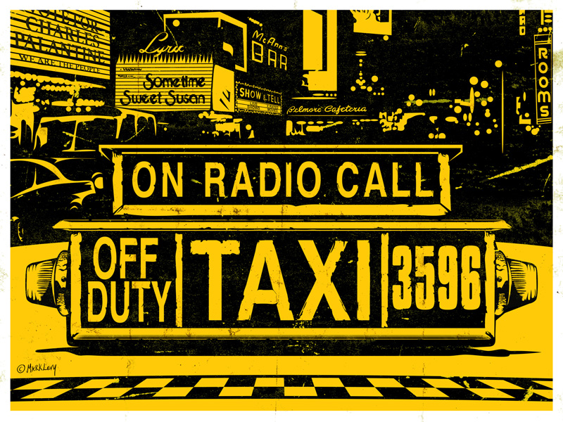 Taxi For Hire by Mark Levy (print inspired by Taxi Driver)