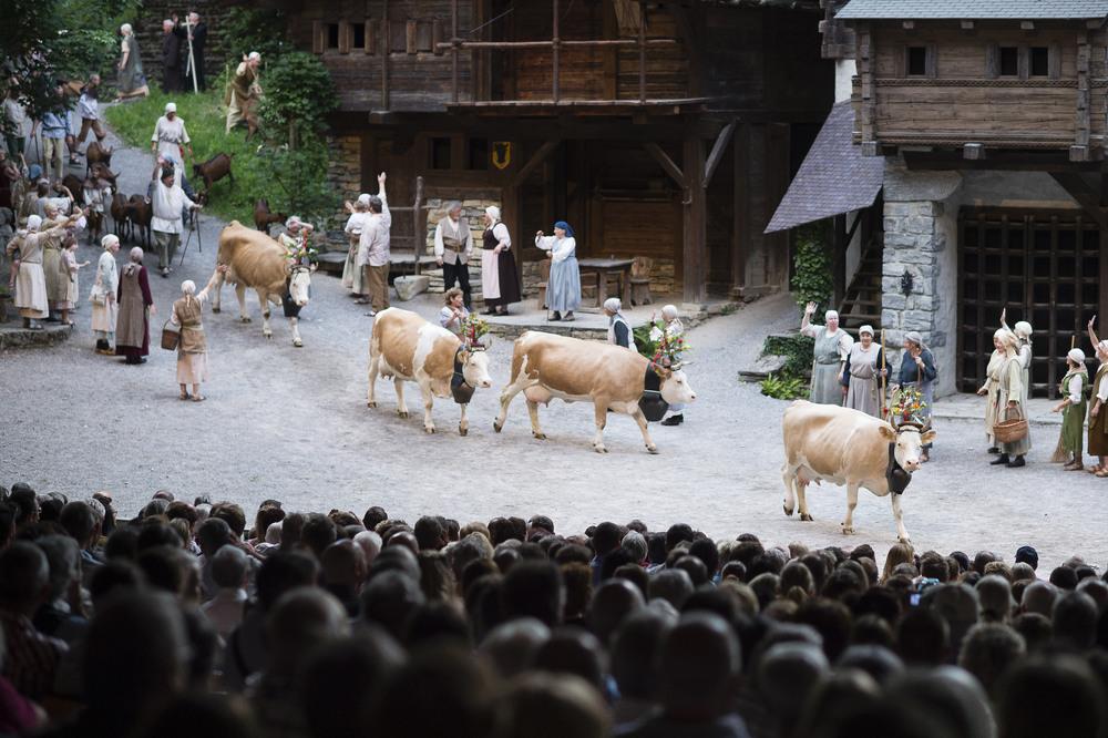 Alpabzug bei den Tellspiele in Interlaken waehrend der Premiere am 28. Juni 2015.