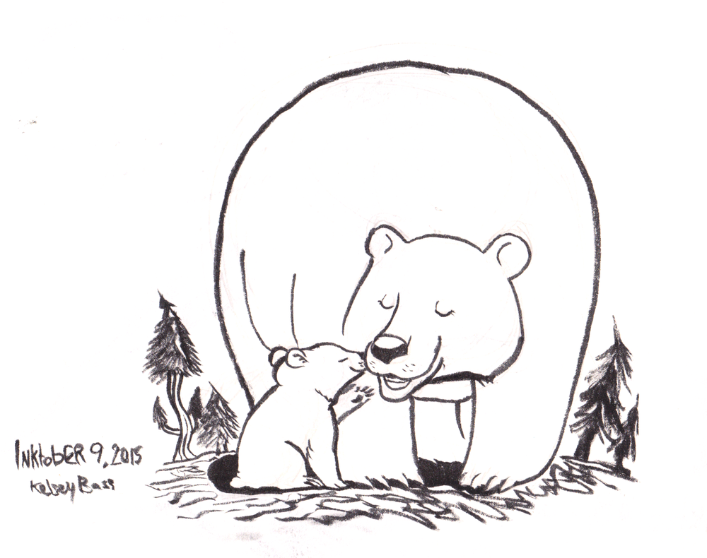 Inktober 9, 2015 Mother and baby bear.