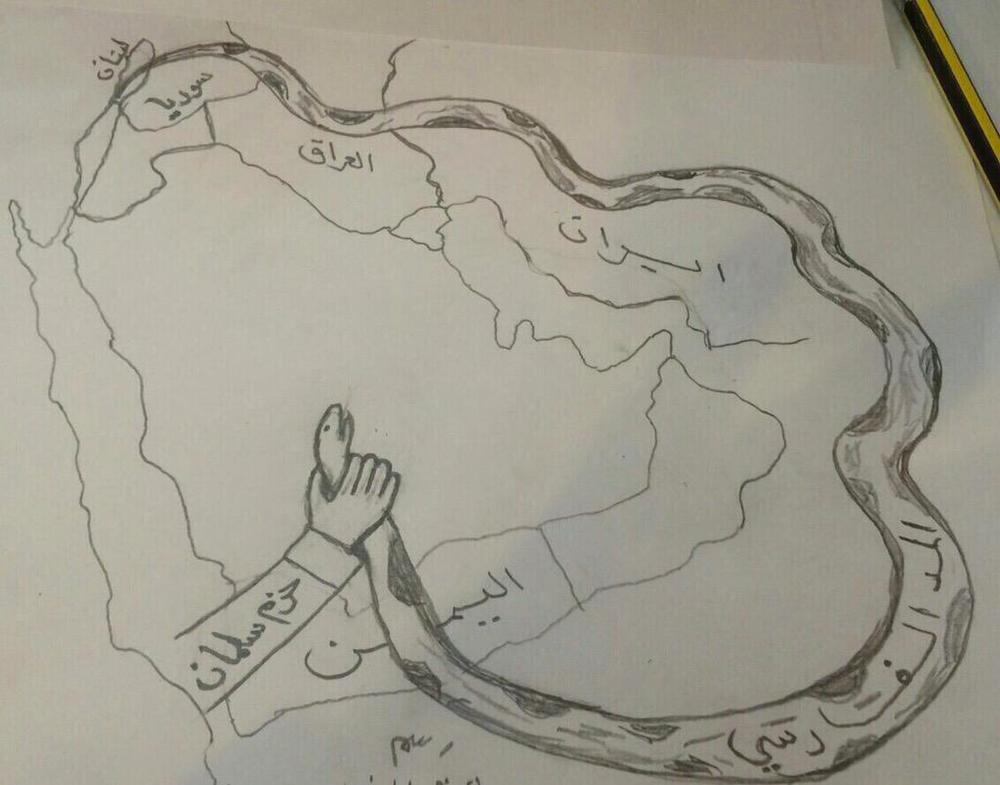 Map by Unknown. Received by Abrahim on his cell phone.