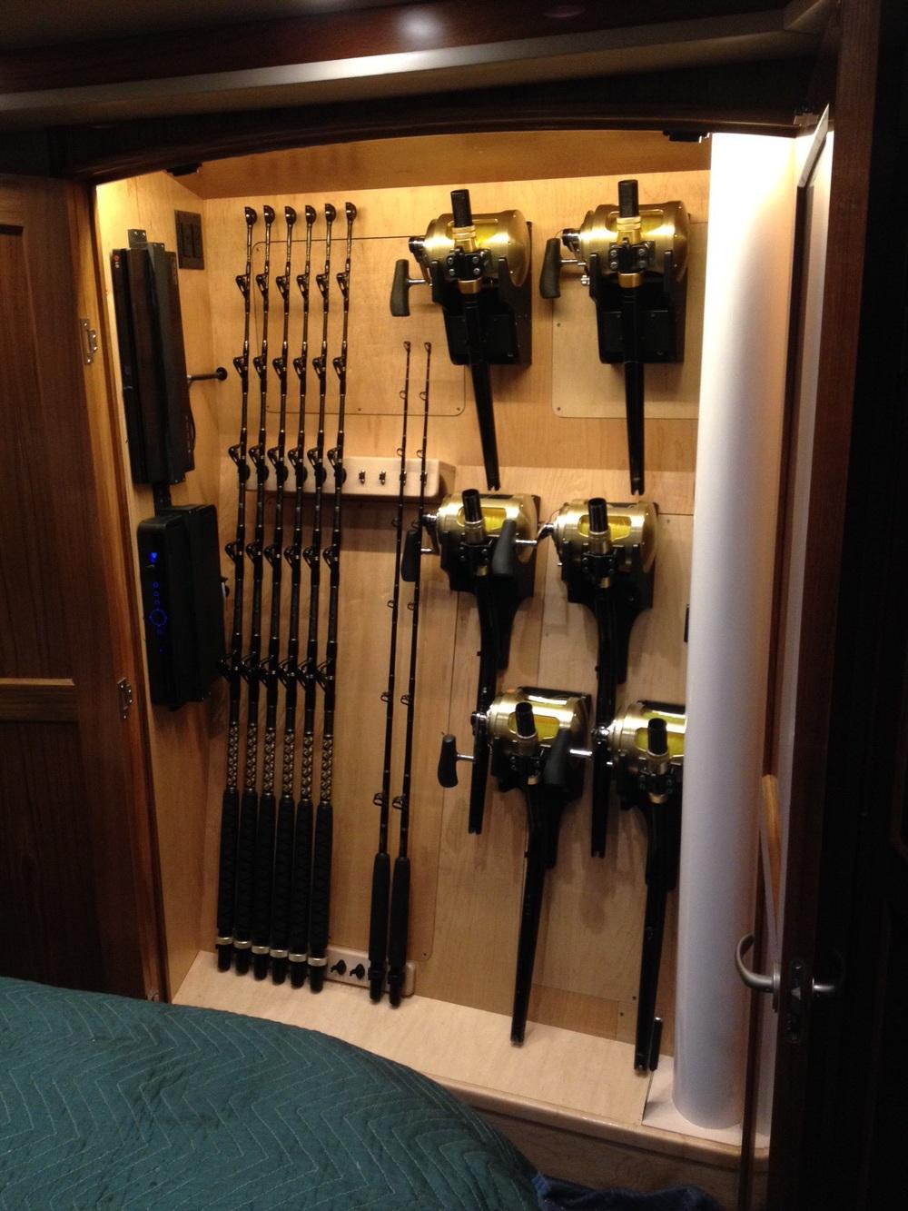 custom rod storage sportfishing yachts woodencrab woodworking