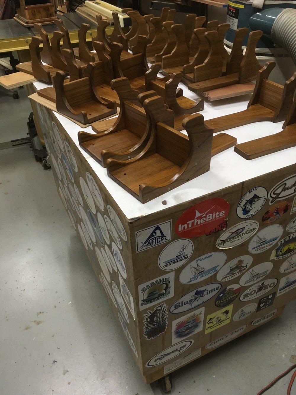 custom teak reel cradles woodencrab woodworking