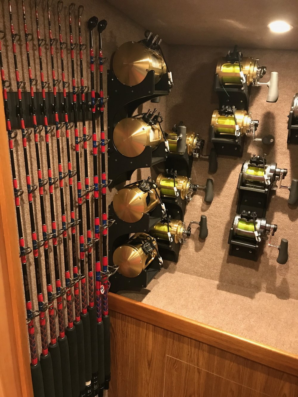 custom rod storage Sportfishing Yachts