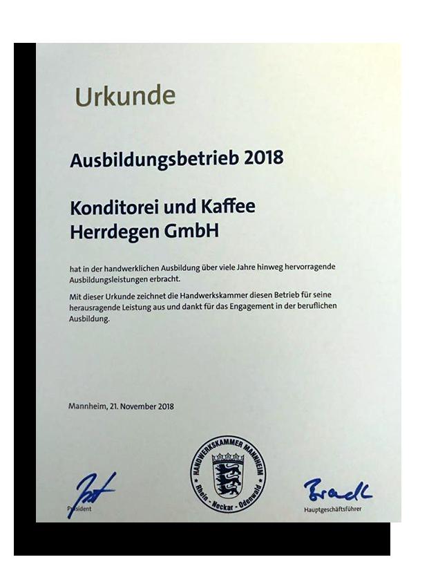 2018 - Auszeichnung der Handwerkskammer Mannheim für unser Engagement in der beruflichen Ausbildung