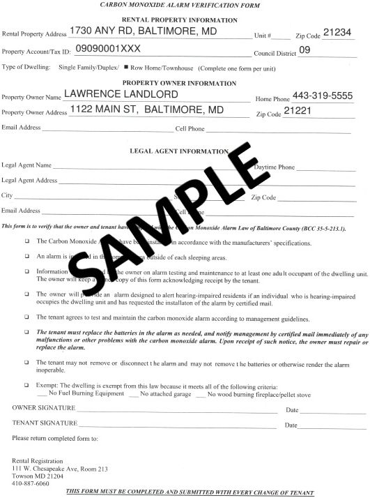 Carbon Monoxide Alarm Verification Form