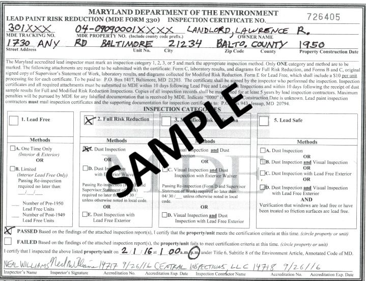 sample forms baltimore county rental property