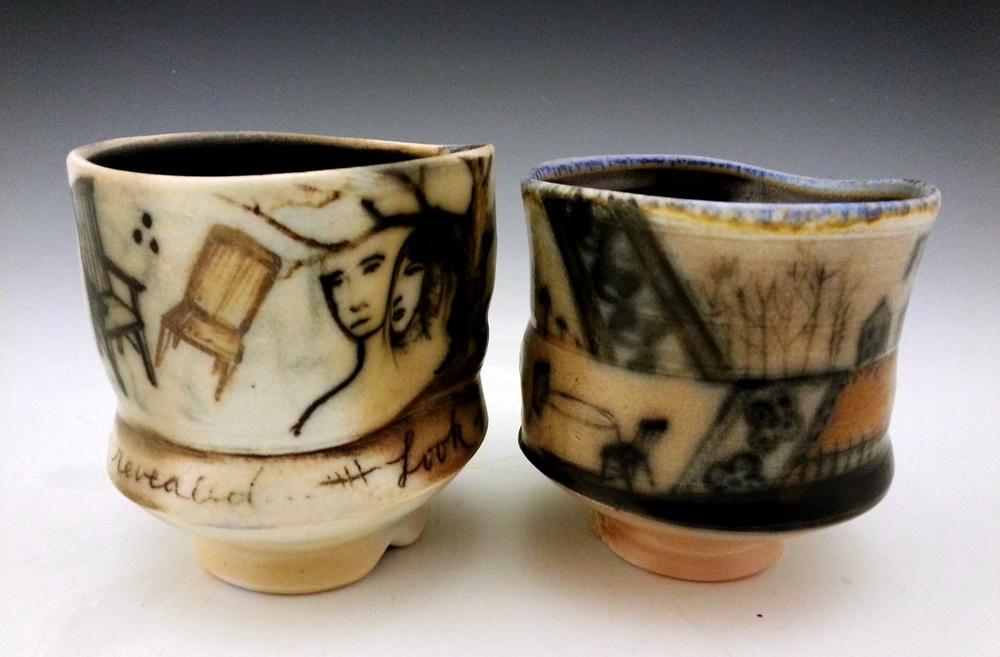 Wood-fired tea bowls, 2014