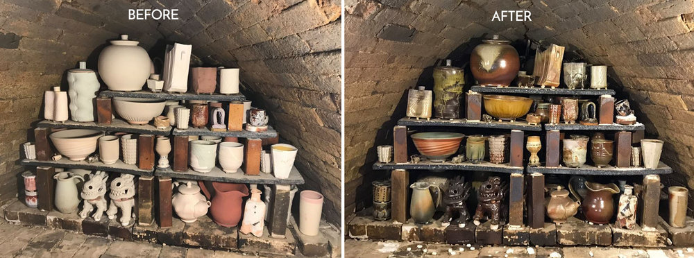 Before and after view of the back of the Anagama, the first and largest chamber in the Gustin Wood Kiln. Photo credit: Joe McCaffery