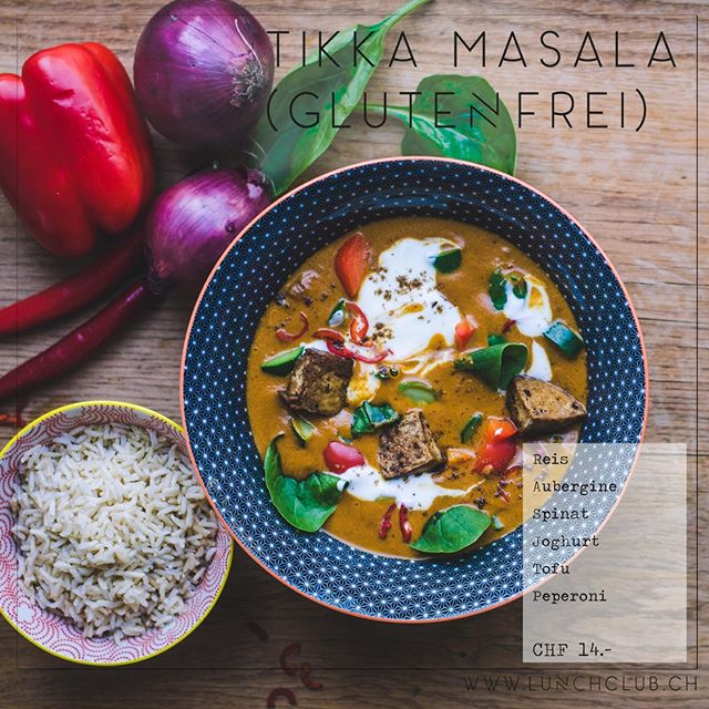 No chicken needed! Dieser Klassiker der Fusionsküche schmeckt auch in der vegetarischen Variante fantastisch! Probiert unser **Tikka Masala** #tikkamasala #healthyhabits #gesundessen #lunchclub #zürich #züri #tsüri #vegetarisch #veggies #gemüse #vegetarian #frischgekocht #ohnezusatzstoffe #abwechslungsreich