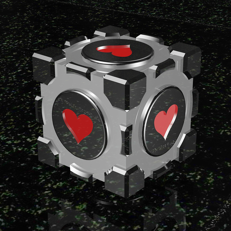 "I created this ""Companion Cube"" from scratch without an existing model to work from. This item was used both as a narrative device and a tool to solve puzzles in the game Portal, and gained notoriety and cult status among fans for the clever writing surrounding the background of this cute little object. Whereas the original design from the game is textured to show significant physical wear and tear from being tossed around all over the place, this version has received a significant makeover with a polished chrome mirror finish and is rendered here on a dark granite slab with green accents. Fancy schmancy."